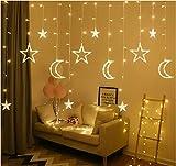 ACDES 2.5m 3.5m Inserto USB LED Moon Star Box Cortina Hada Hada Cuerdas de Navidad Sala de luz Decoración romántica - Color ACDES (Color : Warm White)