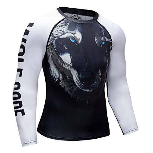 Wolf Code Fightwear Long Sleeve Rash Guard for BJJ, MMA, Wrestling, No-Gi Grappling (Medium) Black/White