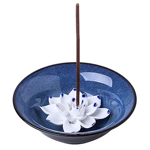 uniidea Incense Holder for Sticks, Ceramic Handicraft Incense Burner Bowl, Coil Lotus Ash Catcher...