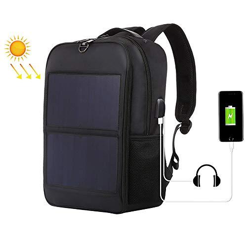 ZLZL Rugzak met solar charger rugzak waterdicht nylon travel outdoor sport rugzak vrije tijd bergbeklimmen tas zwart