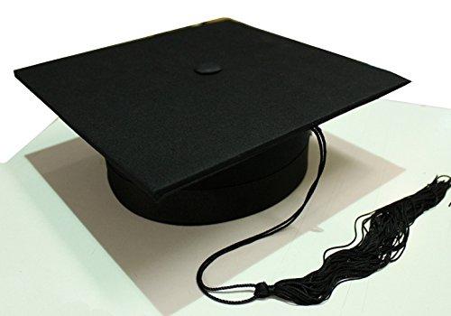 Tocco cappello da laureato lusso in tessuto anima rigida laurea nero
