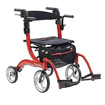 Drive Medical Nitro Duet Rollator Rolling Walker and Transport Wheelchair Chair with 2 Backrest Positions and Folding Mobility for Home Hospital or Nursing Facility  Red