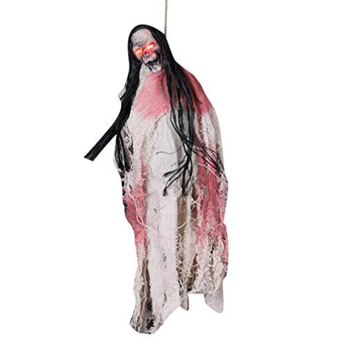 Holibanna Halloween hängender Geist stimmaktivierte induktion leuchtendes langes Haar schädel hängen Dekorationen bar Haunted House Requisiten (ohne Batterie)