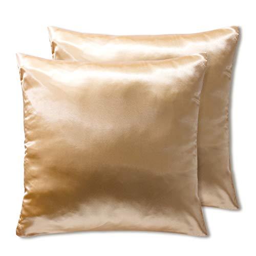OSVINO 2 Stück Kissenbezüge Satin Kopfkissenbezug Mikrofaser Kissenhülle einfarbig glatt weich für Haar und Hautpflege, Beige 80 x 80cm