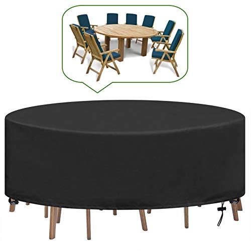 YUYO Housse Table de Jardin Ronde Bache Salon Jardin Exterieur Imperméable Anti-UV Oxford Robuste Bache Table et Chaise de Jardin Ø230X100CM
