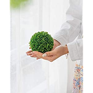 """Silk Flower Arrangements A&B Home 4"""" Green Boxwood Balls Artificial Plant Topiary Orb Indoor Outdoor Bowl Vase Table Centerpiece Decor Set of 3"""