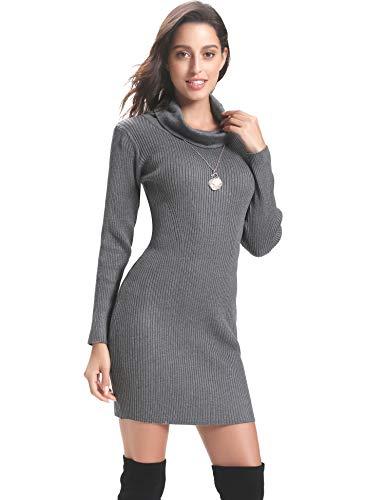Abollria Vestido a Punto Cuello Alto Suéter Elegante para Mujer Jerséy Clásico para Otoño Invierno Cuello Alto, Gris, XS