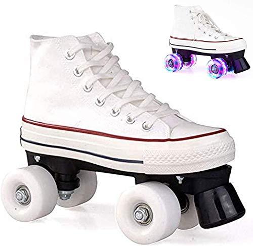 Canvas-Rollschuhe Mit Vier Stapeln Für Männer Und Frauen Zweireihige LED-Skates High-Top-Schuhstil Für Kinder Im Innen- Und Außenbereich Für Anfänger,WhiteGlow-39