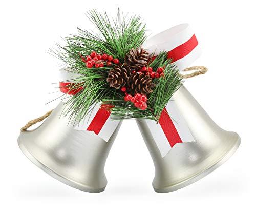 Auldhome Campanas de plata para colgar en la pared; clásico rústico Campanas de Navidad percha de ropa para puerta o corona de Navidad Decoración