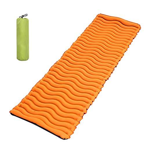 Tapis de camping ultraléger et compact rembourré pour dormir à l'extérieur léger et imperméable à l'eau unique gonflable pour le trekking sac à dos hamac tente et camping, Orange