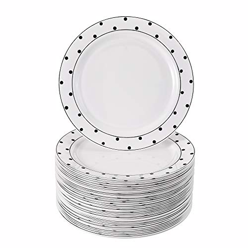 40 pratos de sobremesa descartáveis elegantes para casamentos (pontos pretos - 19 cm)