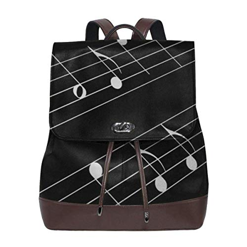 Flyup Women's Leather Backpack Music Staff Black Laptop Bag Elegant Casual Daypack Travel Shoulder Bag For Ladies Frauen Leder Rucksack
