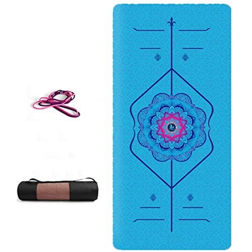 ZBK Esterilla de yoga, elastómero termoplástico de ante impreso, línea de postura, esterilla de yoga, absorbente de sudor, antideslizante, 183 x 68 x 0,6 cm, 8 colores