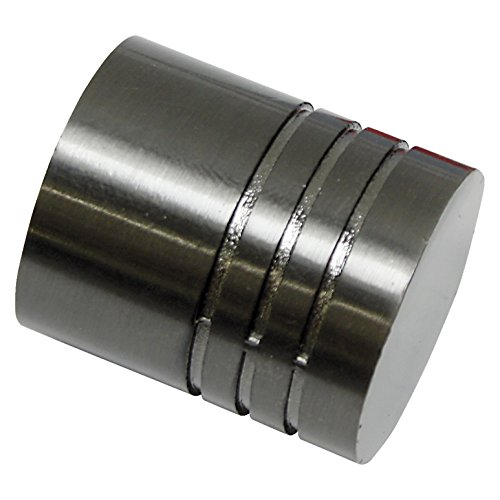 GARDINIA Endknöpfe für Gardinenstangen, 2 x Endstück Zylinder, Serie Chicago, Metall, Titan, Durchmesser 20 mm
