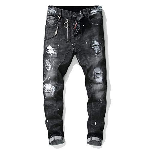 CFWL Jeans da Uomo con Toppe Strappate in Vernice con Cuciture alla Moda Mimetici Uomo Pantaloni da Lavoro Mimetici Uomo...