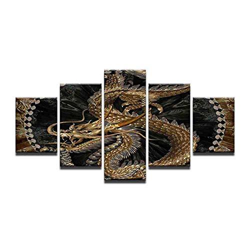 GIAOGE 5 panelen Chinese goud Dragon Poster Hd bedrukt schilderdoek traditioneel keizerlijk Chinees symbool draken muurkunst afbeeldingen ohne gerahmt 10x15 10x20 10x25cm