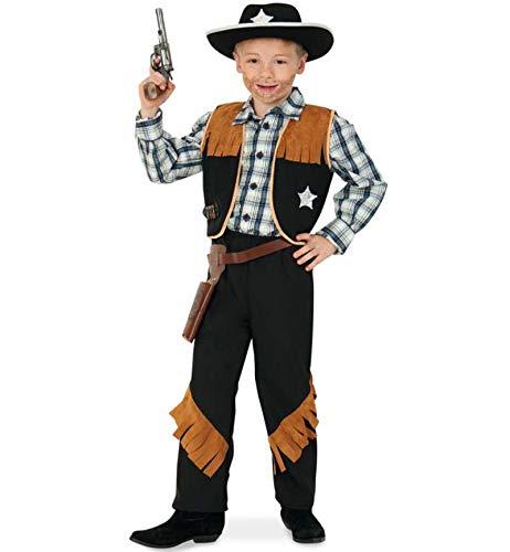 KarnevalsTeufel Kinderkostüm-Set Sheriff, 5-TLG. Weste, Hose, Cowboyhut, Revolvergürtel und Spielzeug-Revolver | Größen 104 - 152 | Cowboy, Wilder Westen, Karneval (116)