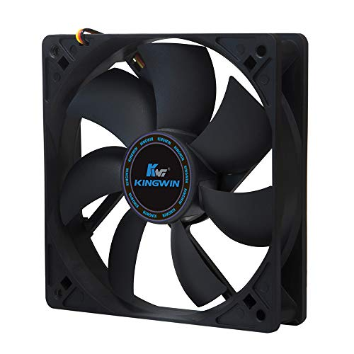 Kingwin 120mm Silent Fan for Computer Cases, Mining Rig, CPU Coolers, Computer Cooling Fan, Long Life Bearing, and Provide Excellent Ventilation Black CF-012LB