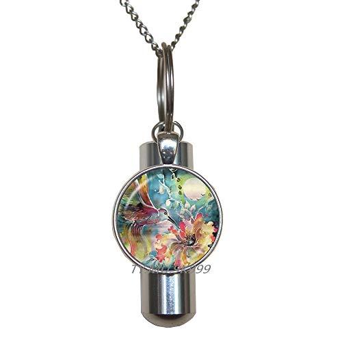 Preisvergleich Produktbild Yaaoiidirrnzaxkcc Halskette mit Kolibri-Urne für den Garten,  Kolibri-Urne,  Kolibri-Urnen-Halskette,  Sommerschmuck