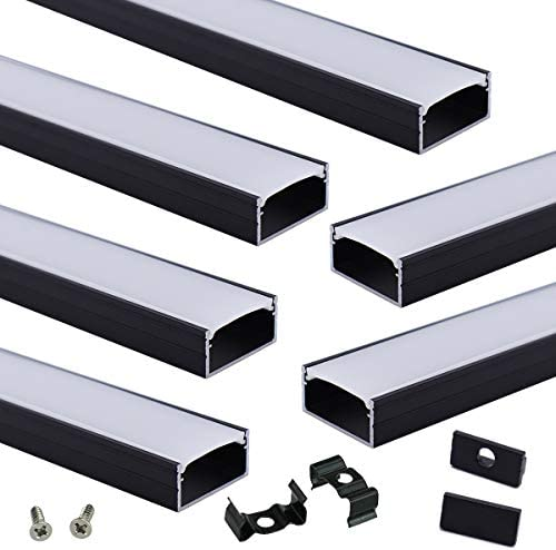 Muzata Black LED Channel System with Milky White Cover 16mm Wide Aluminum Extrusion Profile product image
