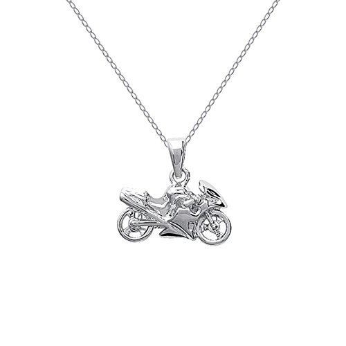 Set mit Motorrad-Anhänger+ Kette 45cm, beides aus Sterling-Silber 925