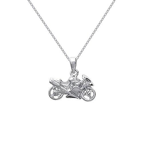 Set ciondolo a forma di moto in argento 925 con catena di 50 cm in argento 925