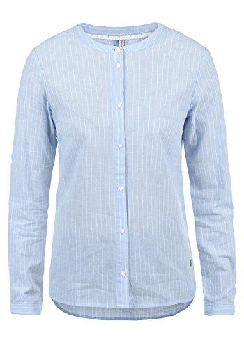 BlendShe Alexa Damen Lange Bluse Hemdbluse Langarm Mit Streifen-Muster Und Rundhals Aus 100% Baumwolle Loose Fit, Größe:M, Farbe:Light Blue (20248)