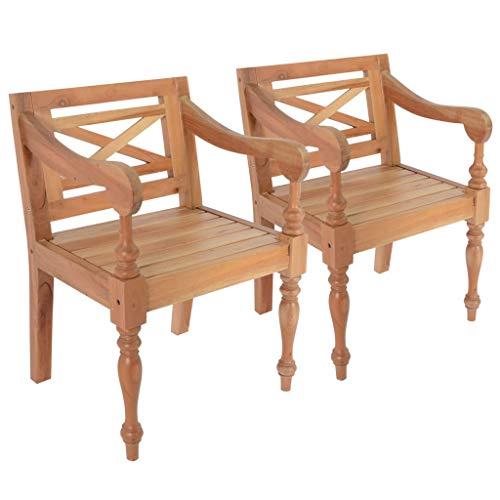 N/O Viel Spaß beim Einkaufen mit Batavia-Stühle 2 STK. Hellbraun Mahagoni Massivholz