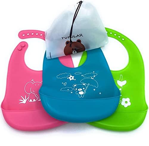 CLEMARS Baberos de silicona para bebes, baberos impermeables para bebe, baberos antimanchas bebe, 3 unidades babero suave, cómodo y flexible. (Gama 1)