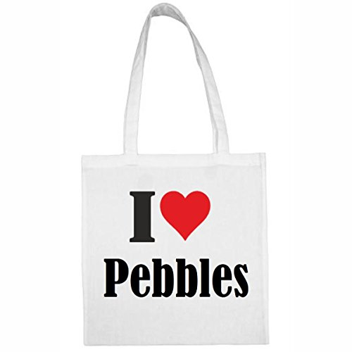 Tasche I Love Pebbles Größe 38x42 Farbe Weiss Druck Schwarz