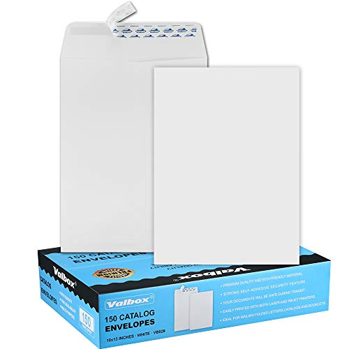 ValBox 10x13 Self Seal Security Catalog Envelopes 150 Packs Large White Envelopes with Peel and Seal Flap for Mailing, Organizing and Storage