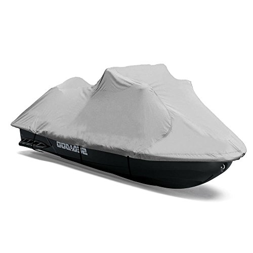 "Heavy Duty Jetski Storage Cover - 118"" to 126"" Marine Grade Boat Cover with Rear Air Vents, Waterproof & Weather Resistant Fabric & Elastic Cord for Tight Custom Fit - Pyle PCVJS12"