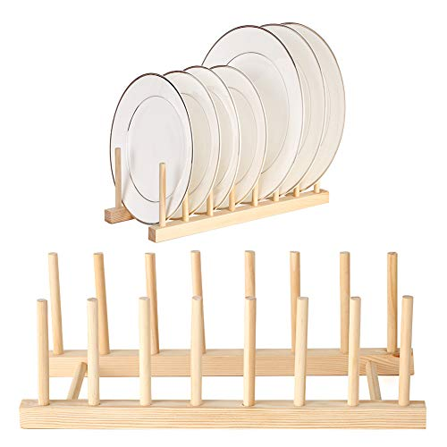 2 Packs Plate Racks Stand Pot Lid Holder Bamboo Wooden Dish Racks Kitchen Cabinet Organizer Dish Drying Rack for Bowl, Cup, Cutting Board Holder Dish Drainer for Kitchen Counter Top