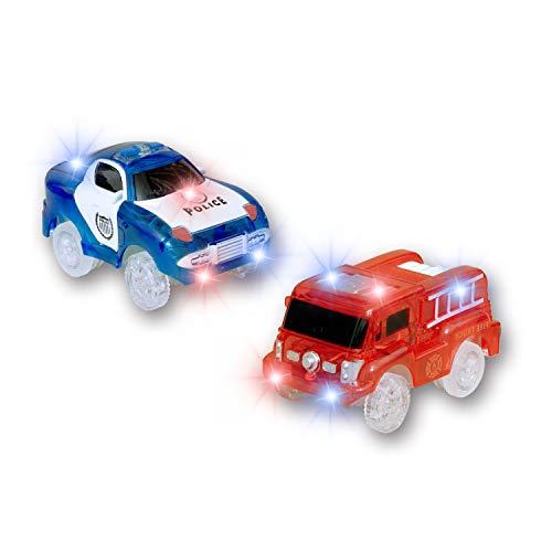 MIGE Auto Spur Polizei Einsatzwagen und Feuerwehrauto Electric Magic Auto Leuchten im Dunkeln mit Twister Tracks für Kinder 3 Jahre und bis Packung von 2 (Rot + Blau)