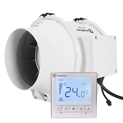 Hon&Guan ø125mm Ventilador Extractor de Aire con Temporizador y Controlador Inteligente, 310m³/h (ø125mm)