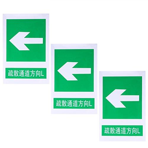 UKCOCO 3 STÜCKE Notfall Notausgang Zeichen Notausgang L Zeichen Sicherheit Warnzeichen selbstklebende Warnung Aufkleber Aufkleber 20x30 CM (grün)