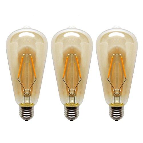 KJLARS 3X E27 ST64 2W Lampadina LED, 2300K Chiaro Vetro Filamento Della Lampadina Bianco Caldo Lampadine a Pallina