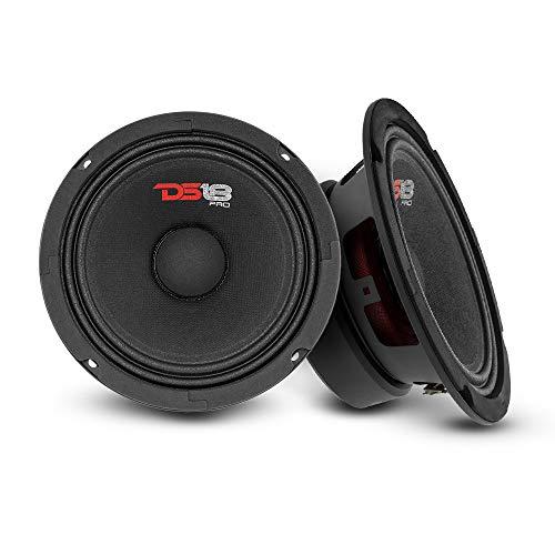 "DS18 2X PRO-GM6 Loudspeaker - 6.5"", Midrange, Black Steel Basket, 480W Max, 140W RMS, 8 Ohms - Premium Quality Audio Door Speakers for Car or Truck Stereo Sound System (2 Speakers)"