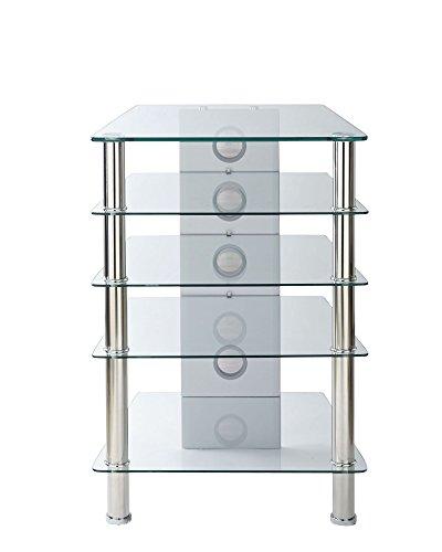 MMT Furniture Designs Étagère en Verre Transparent avec 5 étagères Hauteur 850 mm