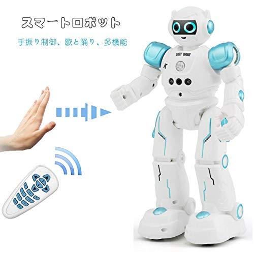 多機能ロボットおもちゃ ラジコンロボット 手振り制御 それは歌と踊りをする 子供のおもちゃ 誕生日プレゼント (青)