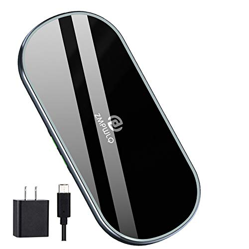 Dual Wireless Charging Mat Fast Wireless Charger iPhone Wireless Charging Pad Station Qi 5 Coils 10W Large Multiple Devices Compatible with iPhone 12 11 X XS Max Samsung USB C Adapter Included