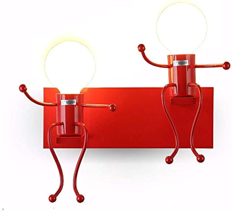 Kreativ Wandleuchte Einfache Nachttischlampe Metall Wandleuchte Kreatives Wandlampe Cartoon Lampe für Wohnzimmer, Bar, Schlafzimmer, Küche, Restaurant, Café, Flur E27,rot