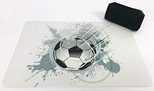 Schreibtischunterlagen Set Fußball/Ball grau auf hellem Grund 40 x 60 cm mit schwarzem Stiftemäppchen