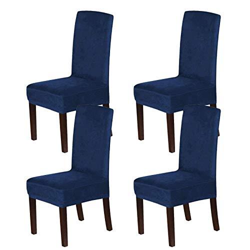 Velvet Dining Chair Covers, Stretch Chair Covers für das Esszimmer 4er-Set Parson Chair Slipcovers Stuhlschutzbezüge Dining Soft Thick Solid Velvet Fabric Washable-Navy-4 PCS