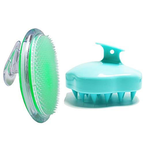 2Pcs Exfoliant brosse Exfoliator brosse de shampooing, Brosse Shampoing Massage Cuir Chevelu, traitement des poils incarnés,Exfoliant pour le visage, le bikini, les aisselles, le fascia et l'outil de