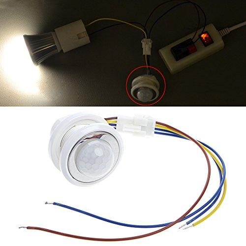 Cuigu - Detector de movimiento por infrarrojos de 40 mm, LED PIR con temporizador ajustable