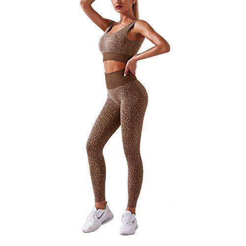 Loalirando Completo Sportivo Donna Tuta Sportiva 2 Pezzi Reggiseno Sportivo + Leggings Completo Leopardata Abbigliamento da Ginnastica Elasticizzato Yoga Jogging (Caffe, M)