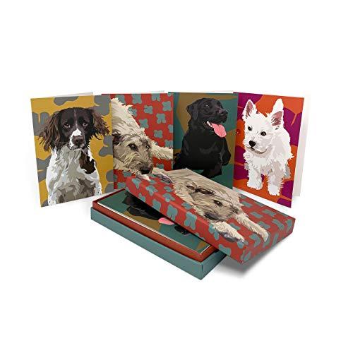 Hund Set blanko Box Grußkarten Aufstellkarten von Leslie Gerry