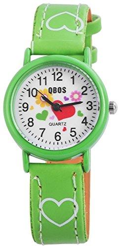 QBOS Kinder – Uhr Lederimitations Armbanduhr Jungen Mädchen Analog Quarz 4900002 (Grün)