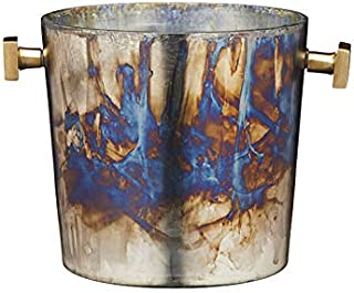 BarCraft BCWBMERCGLS Mercurial Wine Cooler Bucket with Zinc Fired Finish, Glass, Multi Colour
